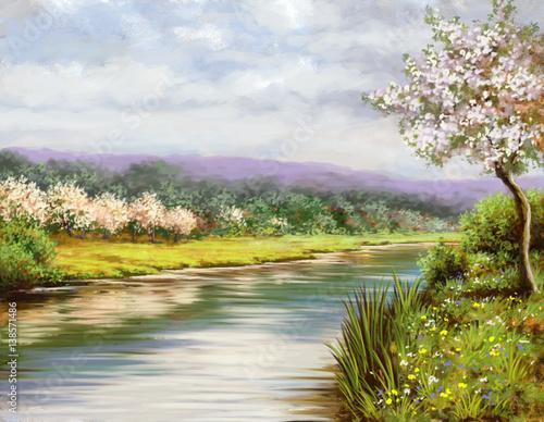 Wiosna, malarstwo pejzażowe, rzeka, sztuka
