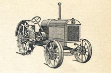 Mini Tractor, Vintage Engraved Illustration