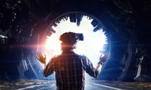 Man In Virtual Helmet    . Mix...