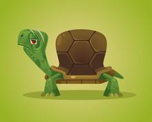 Old Gloomy Turtle Character. Vector Flat Cartoon Illustration
