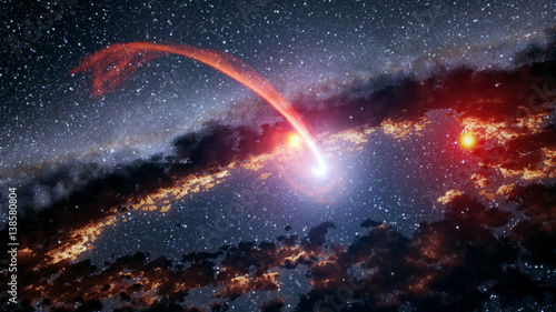 Keuken foto achterwand Nasa Outer space shooting star comet asteroid meteor planet astrology solar system galaxy universe. Elements of this image furnished by NASA.