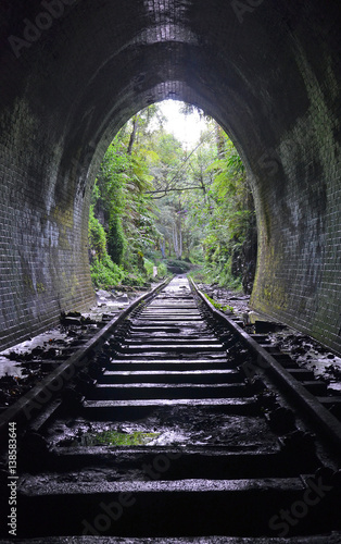 Inside an abandoned historic railway tunnel in Helensburg, New South Wales, Australia
