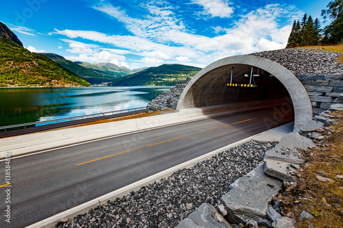 Mountain road in Norway. The entrance to the tunnel.