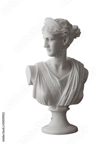 Photo sur Toile Commemoratif White head marble statue of roman Ceres or greek Demeter isolated on white