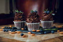 Chocolate Cupcake With Blueberry On Top
