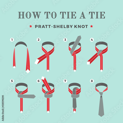 Photo  Instructions on how to tie a tie on the turquoise background of the six steps
