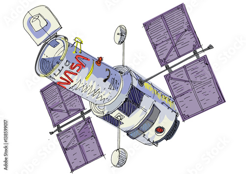 space satellite - cartoon Fototapeta