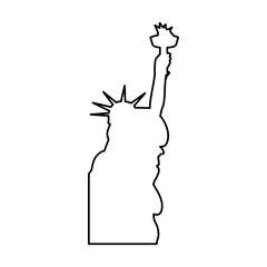 liberty statue silhouette isolated icon vector illustration design