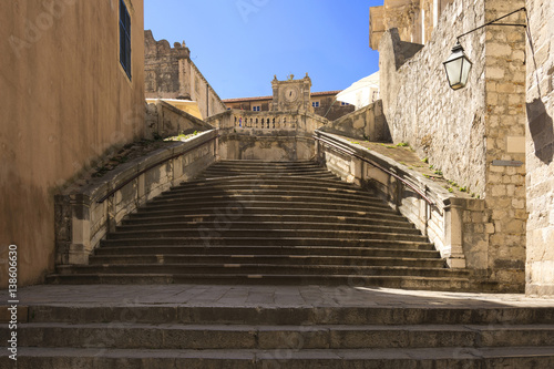 Papiers peints Con. ancienne Baroque staircase in Old Town Dubrovnik, the way to Church of St. Ignatius