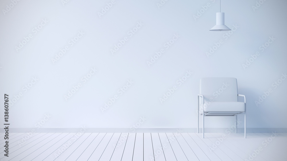 Fototapety, obrazy: Minimal white interior with chair and lamp