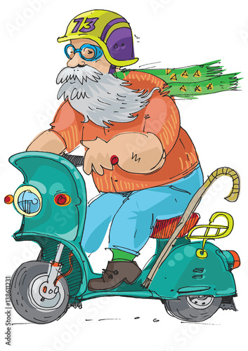 Foto op Canvas Cars cheerful elderly person riding on a scooter - cartoon
