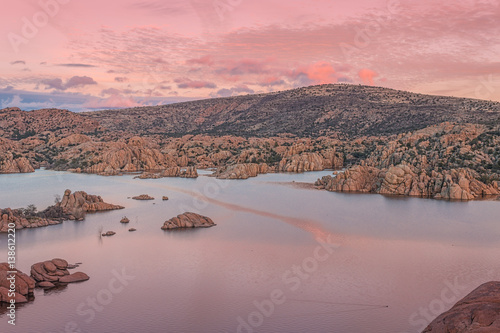 Deurstickers Lichtroze Watson Lake Sunset