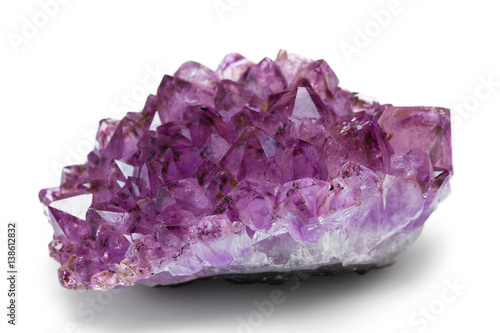 The amethyst stone close up isolated on white background Canvas Print