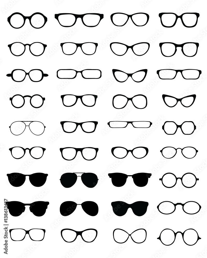 Fototapeta Black silhouettes of different eyeglasses on a white background