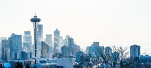 View Of Seattle Day Light Winter Skyline, WA, USA