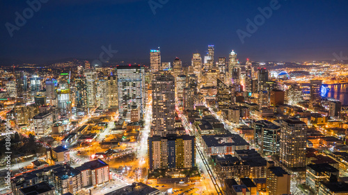 Downtown Seattle skyline at night.