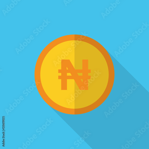 currency symbol on gold coin Nigeria Naira - Buy this stock vector