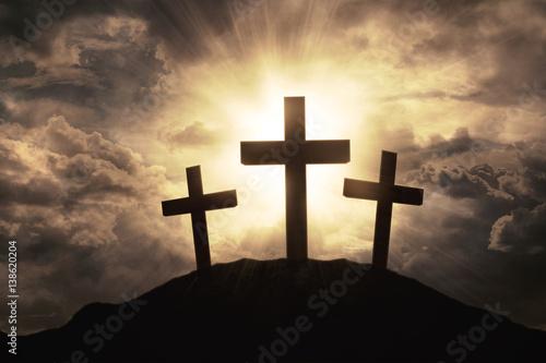 Three crosses symbol on mountain peak Fototapeta