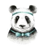 Watercolor panda illustration. Bohemian cute animal. Boho style. Nursary art print. Feathers collection - 138621053