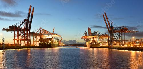 Spoed Foto op Canvas Poort Port with cranes and cargo ships // Hafen mit Kränen und Frachtschiffen