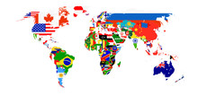 World Flag Map Isolated On White