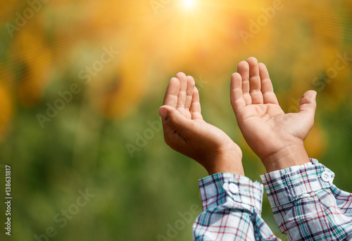 Photo  Children's open empty hands with palms up