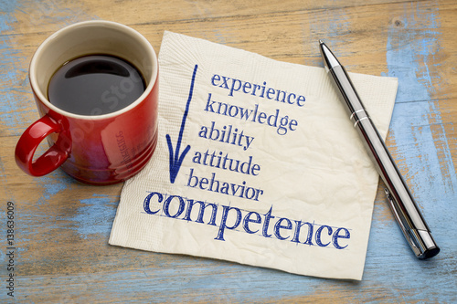 Photo competence concept on napkin with coffee