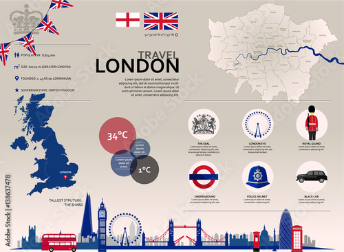 Tuinposter Doodle London Travel Infographic. Vector graphic travel images and icons representing the British city of London.