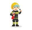 fireman holding fire extinguisher