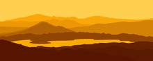 Mountain Landscape, Silhouette Landscape Mountain Hill And Lake Vector Illustration