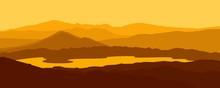 Mountain Landscape, Silhouette Landscape Mountain Hill And Lake Vector Illustration