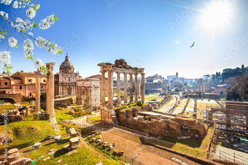 Poster Rome Roman ruins in Rome at spring, Italy