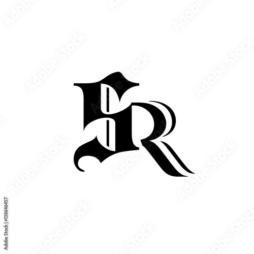 initial letter S,R black color logo vector - Buy this stock