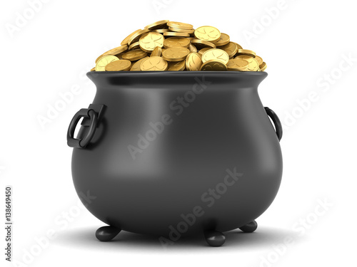 Fotografia 3d render of black pot full of gold coins