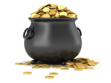 3d Render Of Black Pot Full Of...