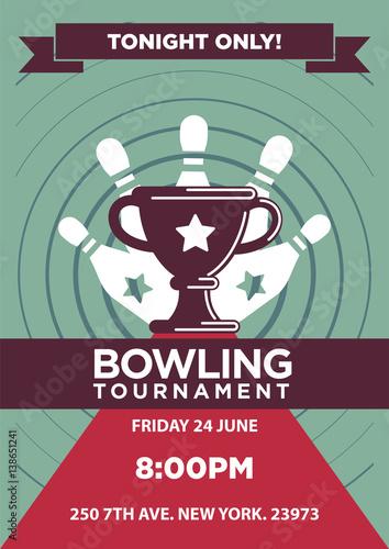 Staande foto Kunstmatig Bowling tournament poster template.