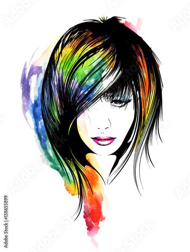 twarz-kobiety-recznie-malowana-akwarela-kolorowe-pasemka-na-glowie