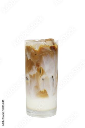 Fotografie, Obraz  Iced coffee cafe latte on white background