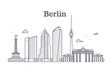 Germany berlin line vector landscape, city panoramic houses