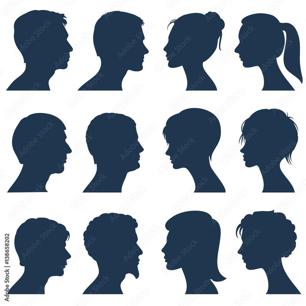 Fototapeta Man and woman face profile vector silhouettes