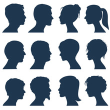 Man And Woman Face Profile Vec...