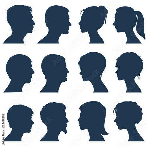 Fototapeta Man and woman face profile vector silhouettes obraz