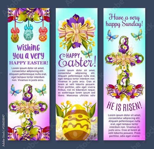 Easter greetings cartoon banner set patterned easter eggs with easter greetings cartoon banner set patterned easter eggs with cross composed of spring flowers m4hsunfo