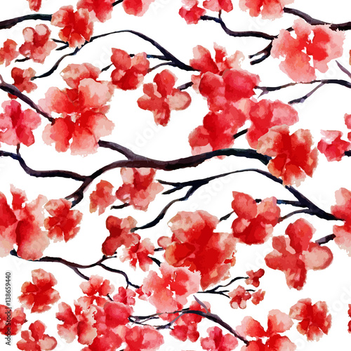 Cotton fabric Japanese cherry branch spring blossom, red sakura tree seamless watercolor pattern. Vector illustration, ready for print. Can be used for wallpaper design, textile design.