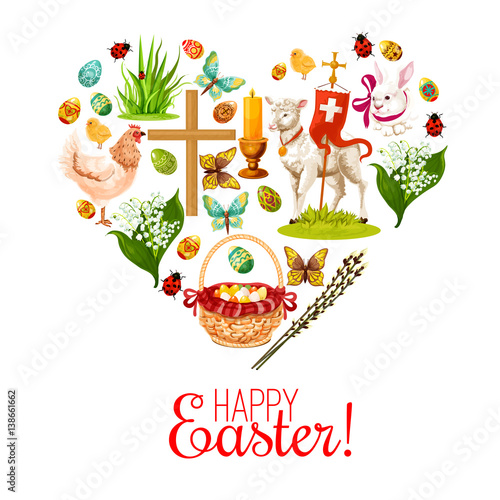 Fototapety, obrazy: Heart of Easter holiday icons. Easter rabbit bunny with painted eggs, chicken, egg hunt basket, lily flower bunch, Easter lamb, chick, cross, candle and willow tree twig symbols for Easter design