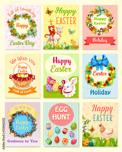 Easter greeting card set. Easter egg, rabbit bunny, chicken with chick, egg hunt basket, Easter wreath of lily and tulip flowers, willow twigs and ribbon, lamb with cross, green grass and butterfly
