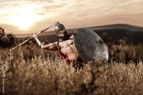 Fotografia  Strong Spartan warrior in battle dress with a shield and a spear