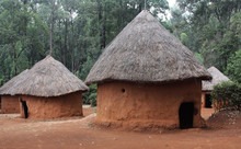 Mud Huts In A Traditional Kenyan Village`