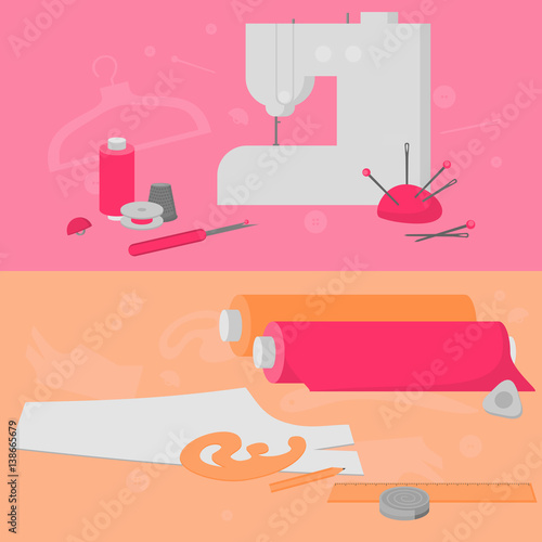 Sewing Workshop Equipment Flat Tailor Shop Design Elements Tailoring Industry Dressmaking Tools Icons Fashion Designer Sew Items Horizontal Banner Buy This Stock Vector And Explore Similar Vectors At Adobe Stock