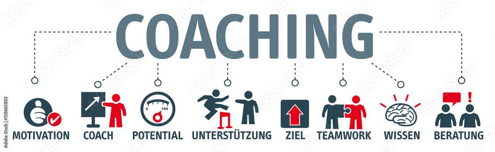 Fototapeta Banner Coaching - Illustration mit Piktogrammen